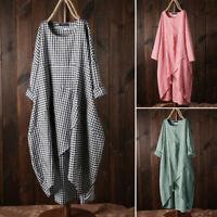 ZANZEA 8-24 Women Spring Casual Long Sleeve Plaid Check Kaftan Abaya Midi Dress