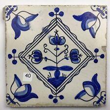"""Antike Fliese Kachel Delft Dutch Tile """" Blütenstaude """" um 1875"""