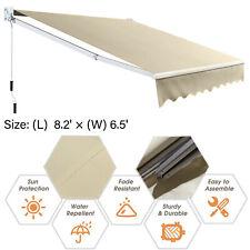 8.2'×6.5' Retractable Awning Aluminum Patio Sun Shade w/Crank Handle Water-Resis
