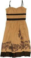 BCBG Paris Size 4 Gold/Black Silk, Spaghetti Straps, Empire Waist Cocktail Dress