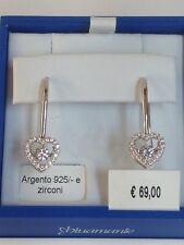 orecchini donna argento 925% rodiato bluamante cuore cuori zirconi amo