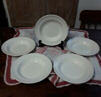"5 Etruria & Barlaston "" A "" Wedgwood England White Ironston Soup / Salad Bowls"