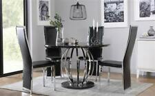 Savoy Round Black Marble and Chrome Dining Table - with 4 Celeste Black Chairs