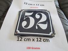 Hausnummer Emaille Nr. 52 weisse Zahl auf blauem Hintergrund 12 cm x 12 cm