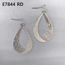 Teardrop Shape Drop Dangle Hook Earrings Simple Silver Finish Thin Rough Surface