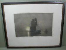 """Early 1900s Aquatint """"Becalmed"""" by Claude Rowbotham, Framed"""