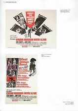 """2002 Vintage JAMES BOND """"FROM RUSSIA WITH LOVE"""" USA MINI POSTERS Art Plate Litho"""