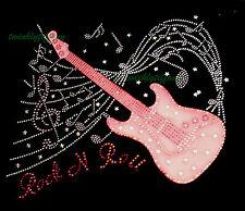 "HOTFIX RHINESTONES HEAT TRANSFER Iron on ""Rock and Roll Guitar Pink Patch"""