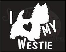 I LOVE MY WESTIE - Car Truck Vehicle Window Decals Stickers - Terrier Dogs