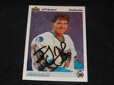 San Jose Sharks Jeff Hackett Signed 1991/92 UD Upper Deck Card #58  SR