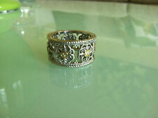 GORGEOUS JUDITH RIPKA JR TWO 18K GOLD STERLING SILVER DIAMOND FLOWER BAND RING 7