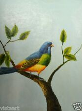 """Oil Painting On Stretched Canvas 12"""" x 16""""- """"Colorful Bird"""""""