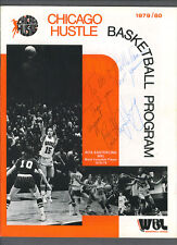 Chicago Hustle basketball program signed by Billie Jean King & Annie Meyers