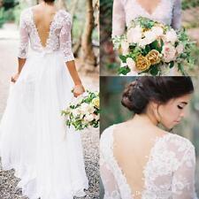 Bohemian Wedding Dresses Lace Chiffon V-neck 3/4 Long Sleeves Beach Bridal Gowns