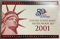 2001-s U.S. SILVER Proof Set.  U.S. Mint Made in Red Mint Box with COA