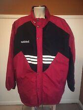 Adidas Jacket Men's XL Trefoil Puffer Parka Coat Black Red White Stripes Soccer