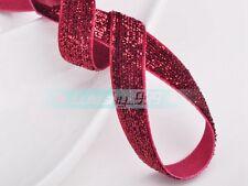 "10Yards  3/8"" & 5/8"" Sparkle Glitter Velvet Trim Ribbons Bows DIY Sewing Wedding"
