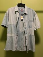 Tommy Hilfiger Vintage Mens Blue Denim Jean Short Sleeve Button Shirt XL $69