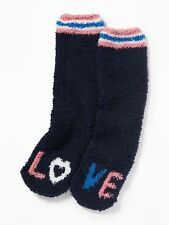 OLD NAVY Cozy LOVE Socks Adult Warm NEW BLACK w/ Pink Blue & White Women and Men
