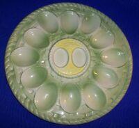 Vintage Green Basket Print Ceramic Glass Deviled Egg Tray