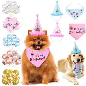 Pet Dog Birthday Hat Cap Headwear Bandana Neckerchief Ties Party Fancy Balloons
