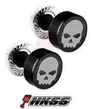 2 Black Billet Aluminum License Plate Frame Tag Bolts - GREY SKULL G B TRA