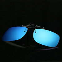 Blue/Gray/Silver Coated Mirrored Lens Polarized Flip Up Clip On SUNGLASSES UV400
