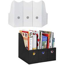 Dunwell Magazine File Holder Set Of 6 3 White Black Sturdy Cardboard Folder