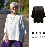 BRYN WALKER Light Linen RESORT SHIRT Boxy Oversize Tunic XS S M L XL WHITE BLACK