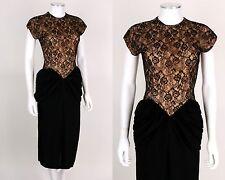 VTG OOAK 1940s Black Lace Overlay Fan Tail Bustle Evening Cocktail Dress SZ XS