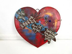 Heart Metal Art Wall Decor Quotes Glitter Stand Tall Play Fair Be Free Live Now