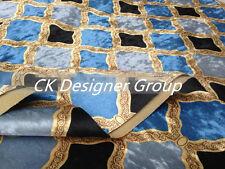 ELEGANT DESIGNER UPHOLSTERY FABRIC-velvet flannelette Diamond lattice Navy Blue