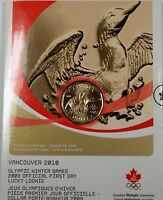 2010 Lucky Loonie $1 Dollar Vancouver Olympic Winter Games BU Coin First Day