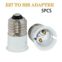 5Pcs Light Bulb Socket Adaptor Base Converter Extender Lamp Holder E27 to B22