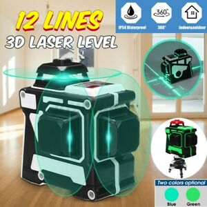 12 Line Laser Level Blue/Green Auto Self Leveling 3D 360° Rotary Cross   #