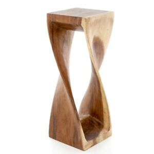 Large Twisted Side Table/Stool Hand Carved Acacia Wood/Natural Finish/76x28x28