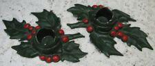 Vtg. 1940's Pr Lvl Lula Verhoren Lavell Holly Cast Iron Christmas Candle Holders