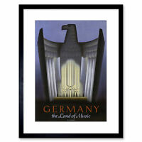 Travel Germany Eagle Wagner Music Vintage Ad Framed Art Print 9x7 Inch