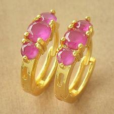 Womens Girls No Allergy Huggies 9K Yellow Gold Filled Red CZ Hoop Earrings