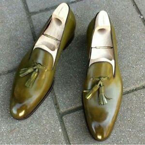 Olive color men's tassel loafer handmade custom leather shoes for men