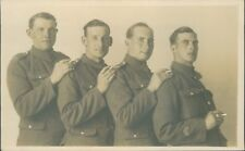 Postcard WW1 Soldiers studio shot Smoking cigarettes
