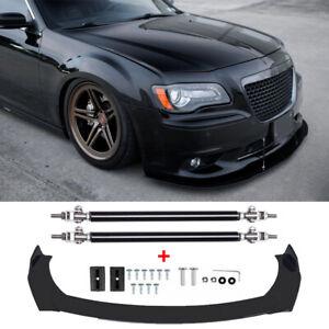 Front Bumper Lip Splitter Spoiler + Strut Rods For Chrysler 300 SRT8 C S LX 3.6