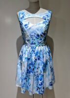 Atmosphere Fit & Flare Dress Sz 12 Blue Floral Peep Front Boat Neck Pinup Retro
