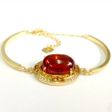 Red Naga Eye Gem Bracelet Vintage Jewelry Gemstone Talisman Thai Buddhist Amulet
