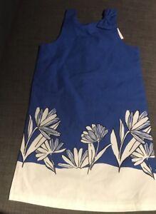 NWT Janie And Jack Sleeveless Sundress Floral Blue Black & White Pique Size 10