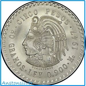 1947 Mexico Cinco Pesos - Cuauhtemoc - 90% Silver Coin
