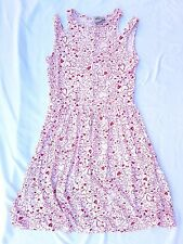 EX CON ASOS Size 12 Dress Red White Heart Print Cut out Sleeveless Casual Day