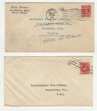 années 30 CANADA timbres sur 2 lettres / B5A