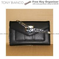 TONY BIANCO BLACK WALLET WOMENS LADIES GIRLS STUDENT FASHION PURSE NEW