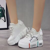 Women's Platform Sneakers Hidden Wedge High Heels Ankle Casual Shoes Creepers UK